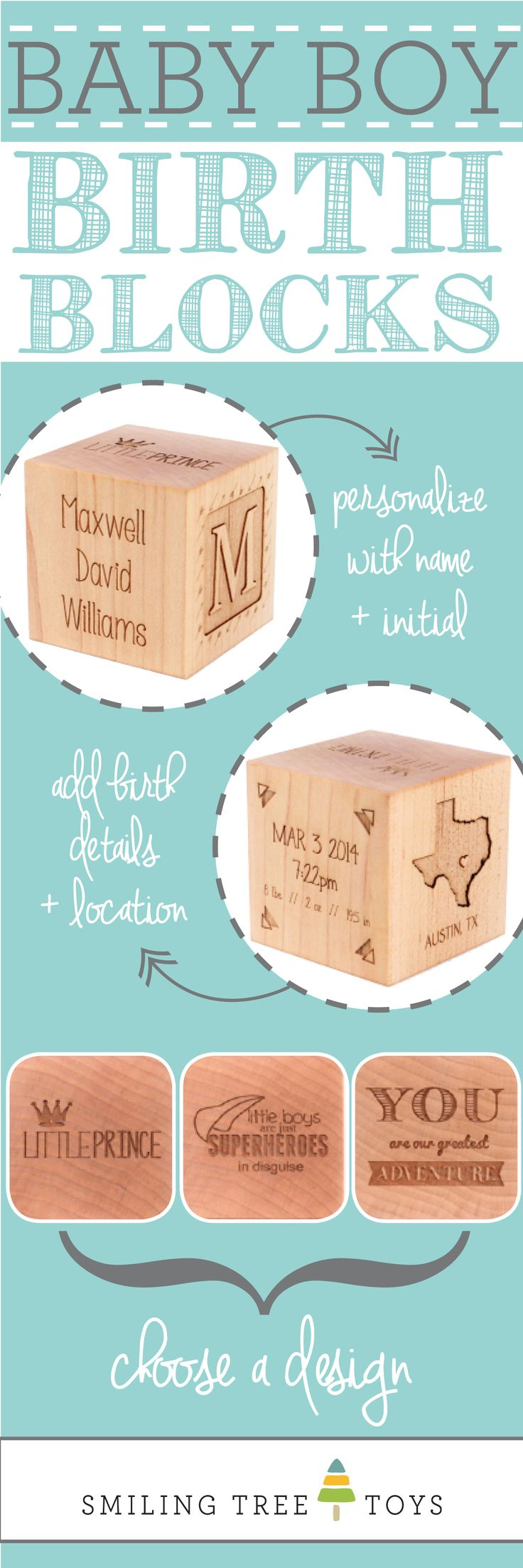 Keepsake Boy Birth Block | Personalized, natural, heirloom gift celebrating baby boy's birth from Smiling Tree Toys