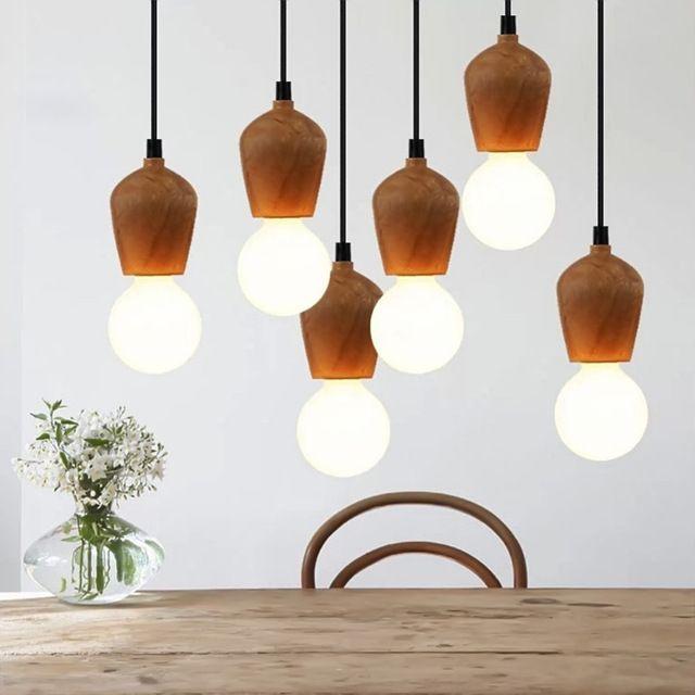 Modren Bois Pendentif Lumières Creative Art Rétro Edison Lampe Tissus Câble E27 En Bois Suspendus Lumière Ampoule Titulaire