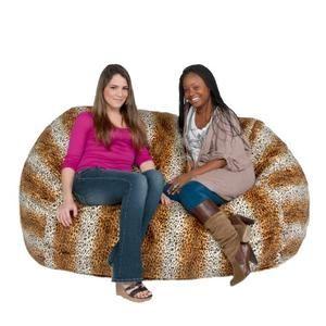 Bean Bag Chair Huge Love Seat Micro Suede 6' Leopard Animal Print By Cozy Sack