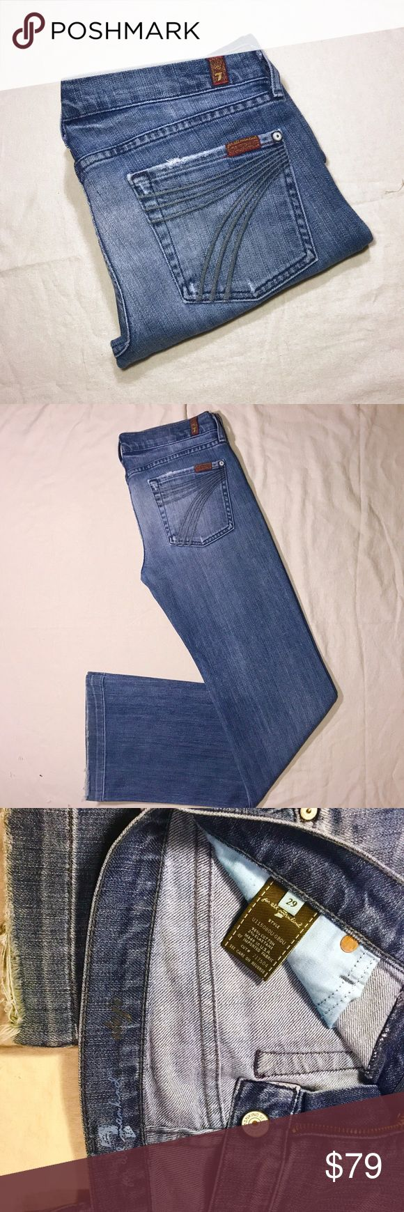 """7 For All Mankind DOJO Jeans - 32x33.5 Beautiful and vibrant, light silky Denim.  7 For All Mankind Dojo Jeans in Nikita.  Wide Leg Trouser - wear them with sneakers or stilettos.  Signature """"7"""" embroidery on back pockets.  Factory distressed, with a vintage fade and """"7"""" whiskering.  Size 29, actual measurements are (approx): waist 32"""" rise 8"""" inseam 33.5"""". Nikita is made to look worn brand new, but have also had some natural wear from previous use.  Leg cuffs, most notably - see pics…"""