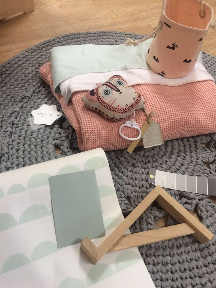 Sfeerimpressie kinderkamer. #grey #mint #pink