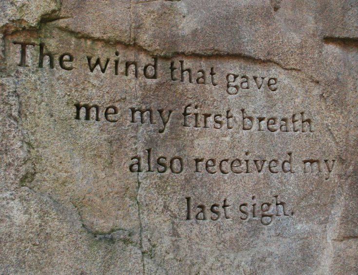 """""""The wind that gave me my first breath also received my last sigh..."""""""