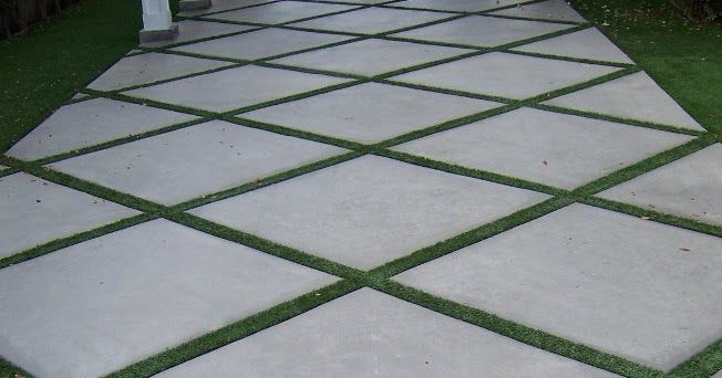 Here is an interesting way to spruce up concrete,   with Field Turf in the expansion joints.   Photo by Doug Kalal