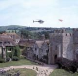 Stay in a Fantasty Castle in England, Scotland and Wales: Guests arrive by helicopter at Amberley Castle, a Luxury hotel near Arundel in the South Downs