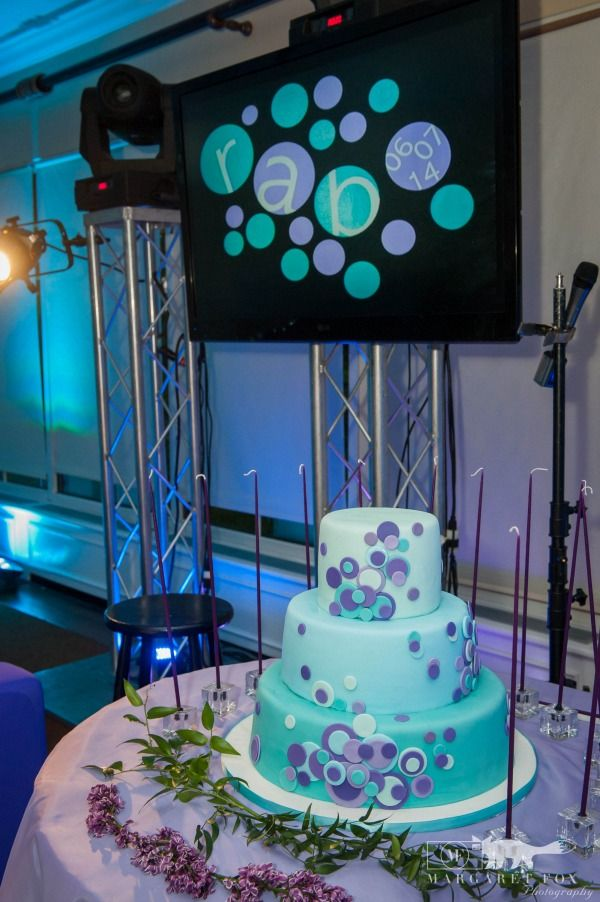 Bat Mitzvah Cake, Purple & Blue Circles {The Event of a Lifetime} - mazelmoments.com