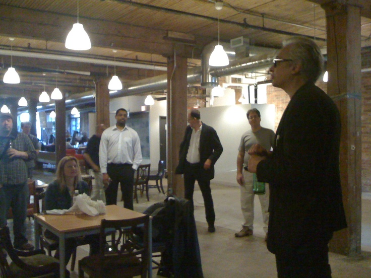 At the @raindancecanada Open House. Raindance Film Festival head Elliot Grove at the podium. Centre for Social Innovation, Toronto, March 21, 2012.