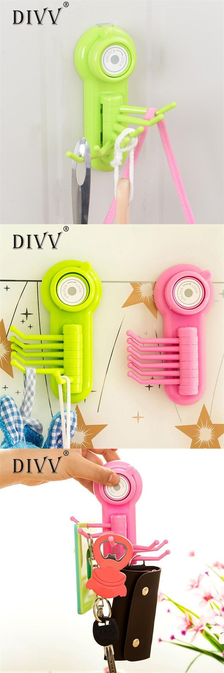 [Visit to Buy] DIVV crochet adhesif Multifunction Vacuum Sucker 6 Claw Hook Reusable Plastic Hooks Storage Tools*25 GIFT 2017 Drop #Advertisement