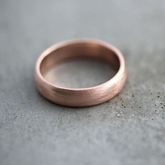 Rose Gold Men's Wedding Band, Brushed Matte Men's 5mm Low Dome Recycled 14k Rose Men's Gold Ring - Made in Your Size