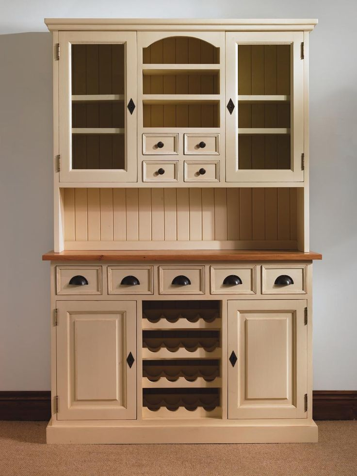 Mottisfont Painted Pine Provence Dresser With Built In Wine Rack