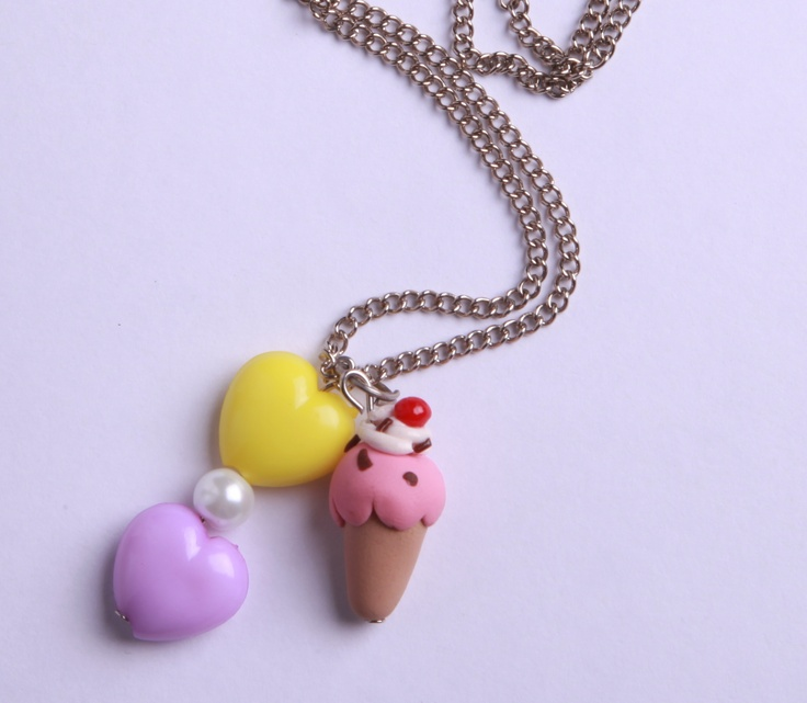 "Polymer Clay ""Ice Ice Baby"" necklace by milk+biscuit, $13"