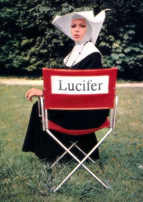 """""""Just keeping his seat warm?"""" +†+  #Lucifer #Baphomet #devil #director #chair #nun #habit #rosary #confounded #facial #expression #nunsploitation"""