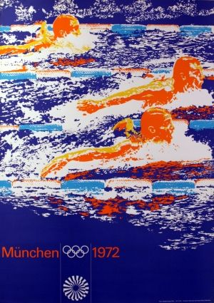 Munich Olympics Swimming, 1972 - original vintage poster listed on AntikBar.co.uk
