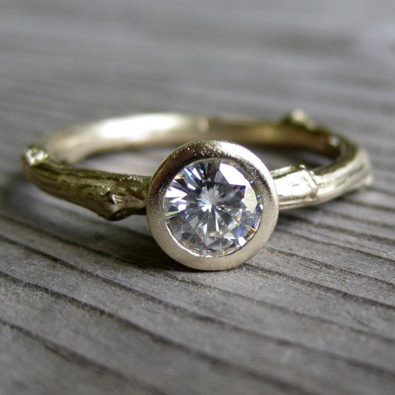 Twiggy    Moissanite Twig Engagement Ring in Recycled Gold, Half Carat. $850.00, via Etsy.