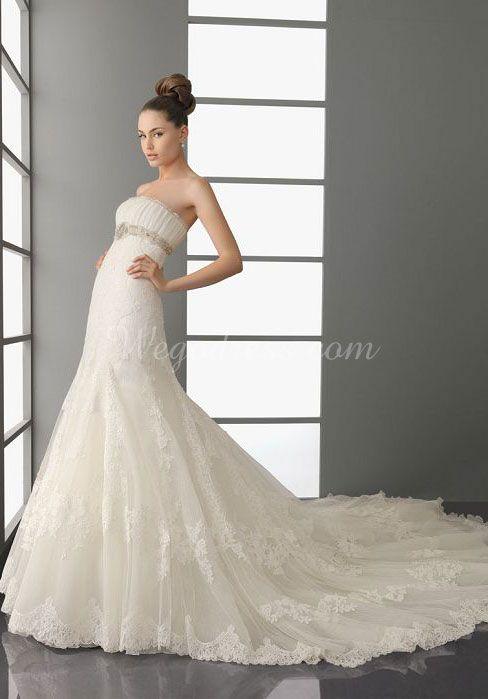 strapless applique chapel train a-line empire waist wedding dress - Wegodress.com