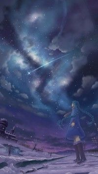 Hatsune Miku po gwieździstym niebem