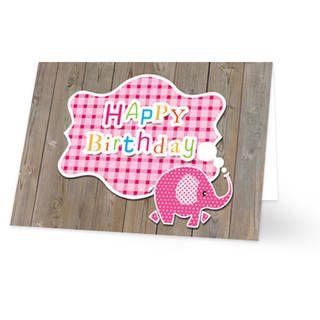 Een verjaardagskaart voor een kind van een roze olifantje. Achter de olifant is een roze sticker geplaatst met daarop de tekst ''HAPPY Birthday'' in gekleurde letters. De achtergrond is van steigerhout. Aan de binnenkant van het verjaardagskaartje is de achtergrondkleur wit met links onderin het roze olifantje.