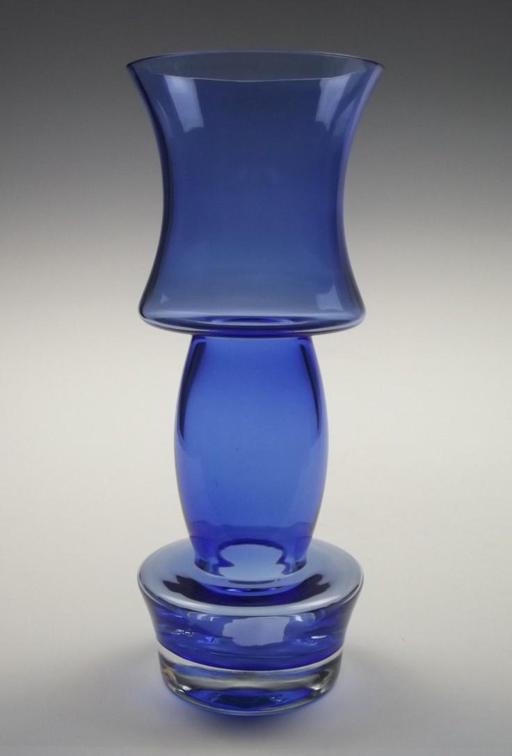"11"" tall Riihimaki blue glass vase. £60.00, via Etsy."