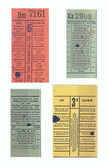Cape Town Bus tickets.     1950s. by Etiennedup, via Flickr