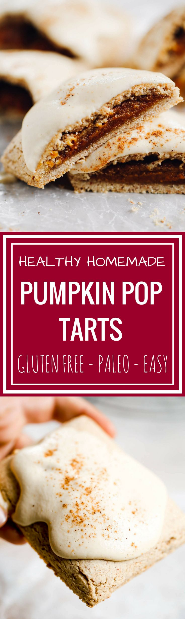 Homemade paleo pop tarts SO healthy, you can eat them for breakfast! Sweet smooth pumpkin butter filling, flakey paleo pastry, topped with the best maple cashew glaze! Clean eating pop tarts. Healthy pop tarts. Homemade gluten free pop tarts. Low carb gluten free pop tarts. Easy paleo pop tarts.