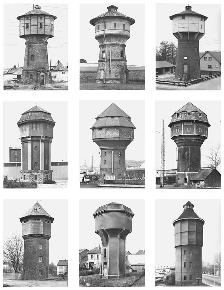 Bernd and Hilla Becher  Water Towers: (Hunsruck)  2010  9 Black and white photographs