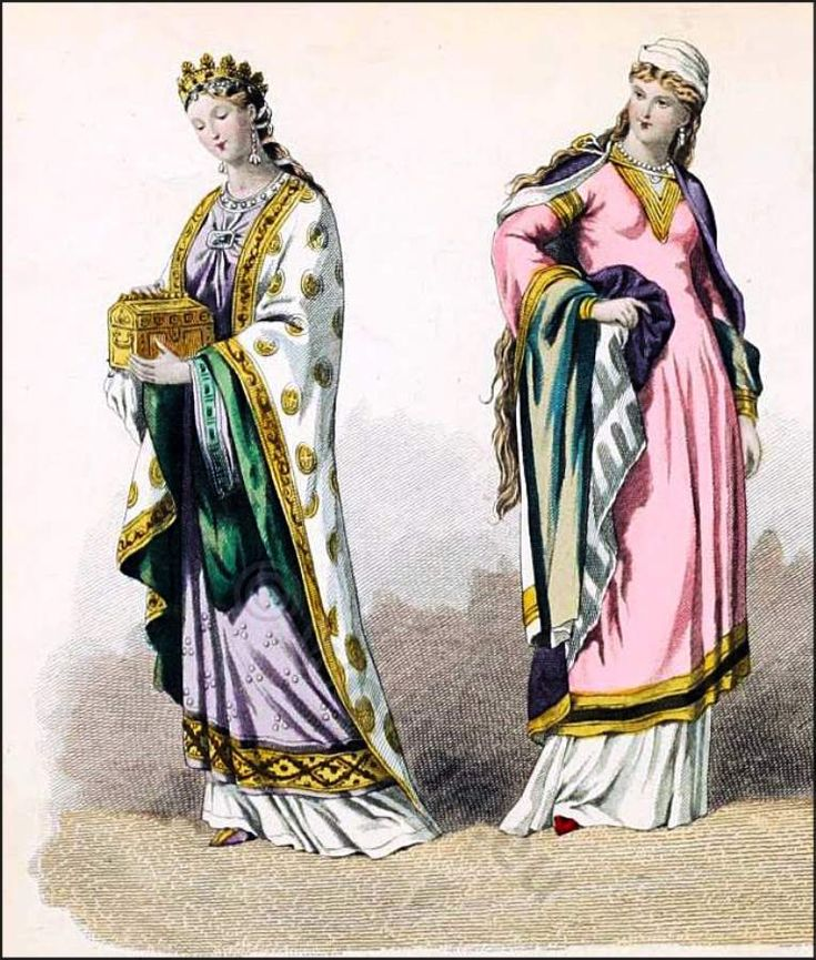 French nobility costumes in the period of the second half of the 10th Century. French Middle Ages Fashion History.