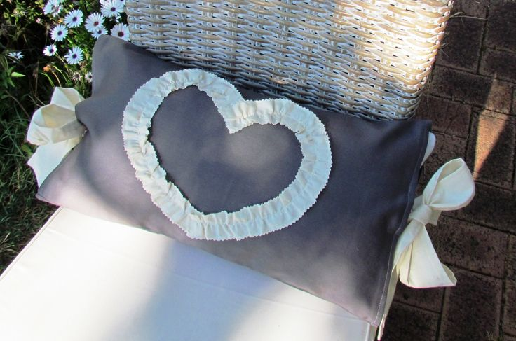 the ruffled heart cushion with bows