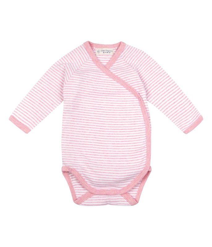 Body a manica lunga incrociato a strisce colore rosa, in morbido cotone biologico.