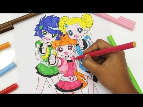 Powerpuff Girls Coloring Book Bubbles Blossom Buttercup PPG PPGZ Surprise Egg and Toy - YouTube