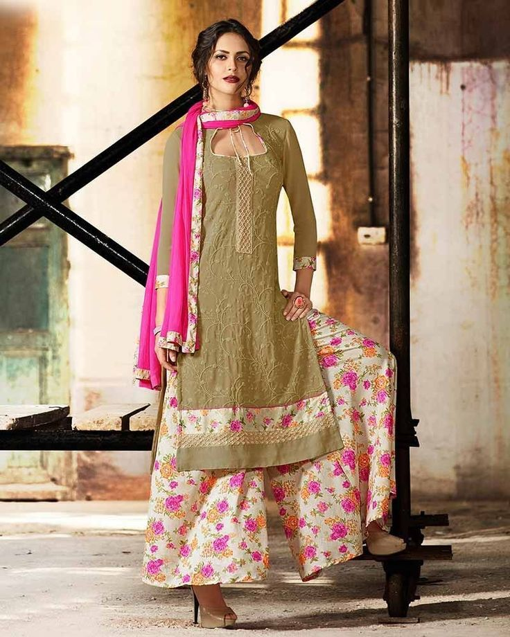 Be the charming beauty of any occasion wearing this brown coloured georgette palazzo suit which has floral printed pants for complimenting kurta and dupatta.