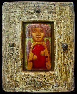 Деревянная картина «Ангел с рыбой», Авторские картины, Павла Николаева, Готический наив, Картины из дерева, Авторское изделие, единственный экземпляр, Резные картины из дерева
