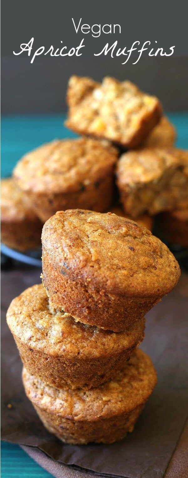 Vegan Apricot Muffins have little bits of sweet dried apricots inside and it makes all the difference in the world.  Simple and satisfying. via @VeganFreezer