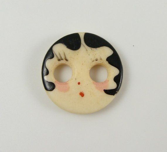 Vintage Hand Painted Bone Flapper Girl Face by SewingVineyard on Etsy, could I paint something like this?