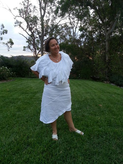 Sew 359 - Upcycled white Christmas number, created by turning a short white frill skirt into a collar, and reshaping the hem of an A-line linen skirt