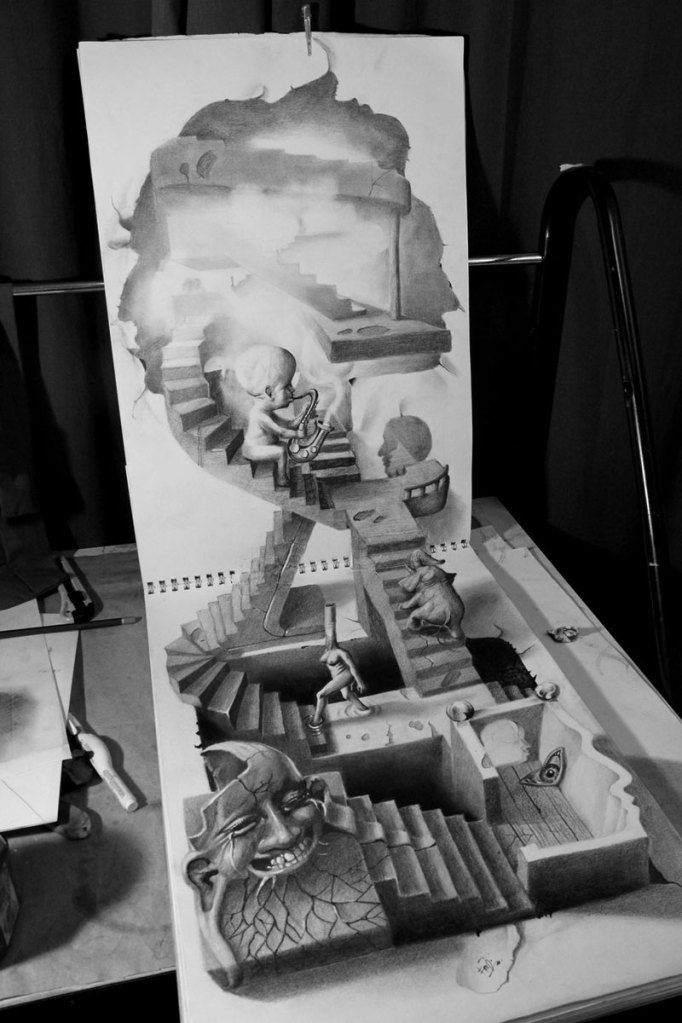 Anamorphic 3D Pencil Drawing byFredo (real name Wladmir Inostroza)