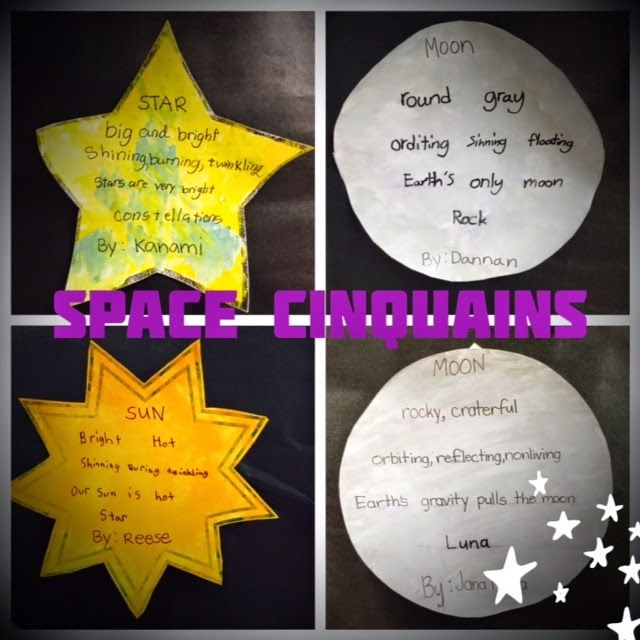Classroom Ideas Theme ~ Space cinquains after studying outer the sun moon