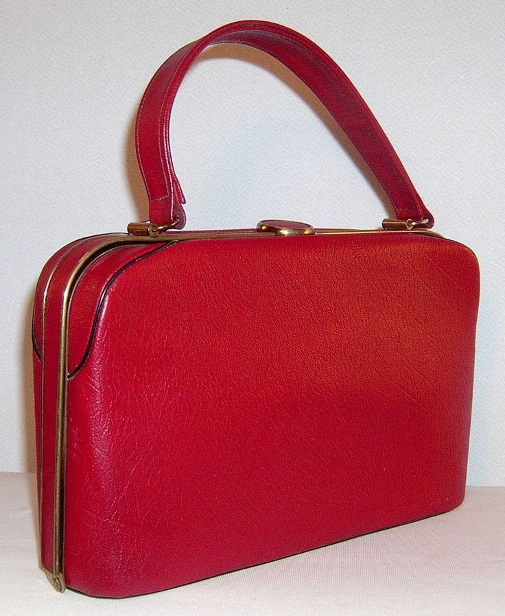 Vintage red leather handbag purse - 1940s 1950s. $60.00, via Etsy.