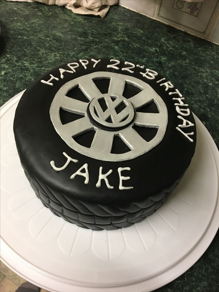 Vw wheel/tyre cake, perfect for a mechanic or any car mad guy!