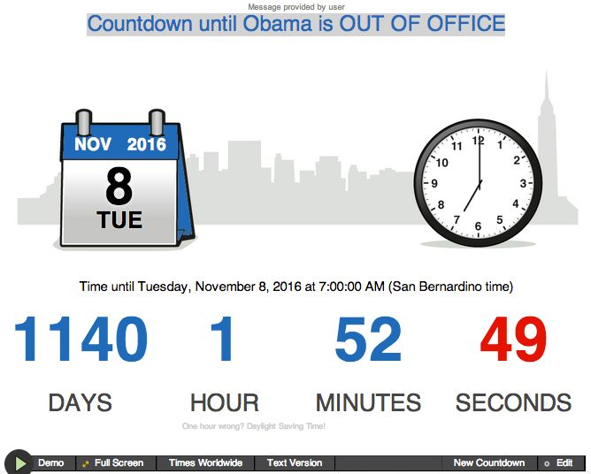 Get Your Own Obama Countdown Clock