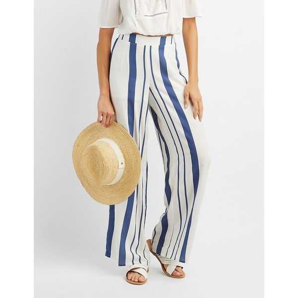 Charlotte Russe Striped Palazzo Pants ($27) ❤ liked on Polyvore featuring pants, multi, elastic waistband pants, beach pants, high-waisted pants, high waisted wide leg pants and high waisted palazzo pants