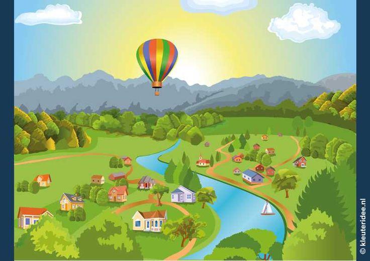 Praatplaat luchtballon voor kleuters groot formaat, kleuteridee.nl , free printable.
