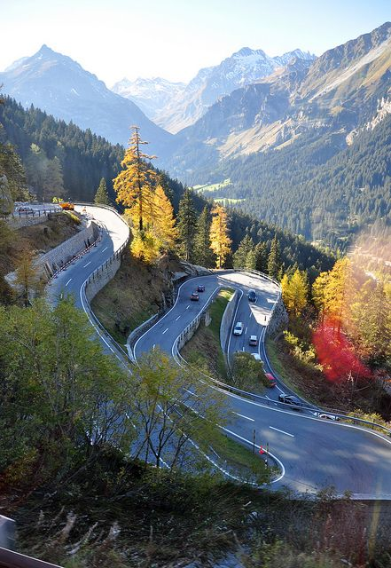 Winding road in Maloja Pass, Graubünden Canton, Switzerland (by Steve Bird1).