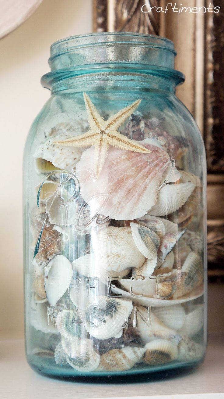 vintage mason jar filled with seashells