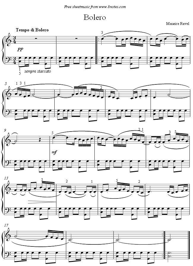 Ravel - Bolero sheet music for Piano