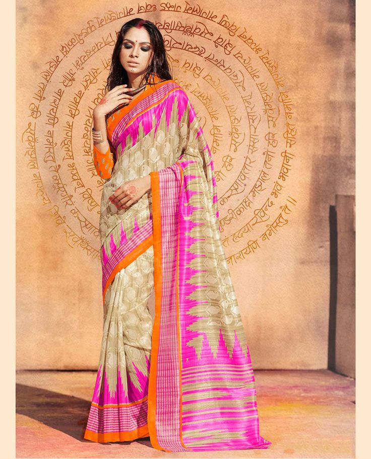 Buy Beige Bhagalpuri Silk Printed Saree 63713 with blouse online at lowest price from vast collection of sarees at Indianclothstore.com.