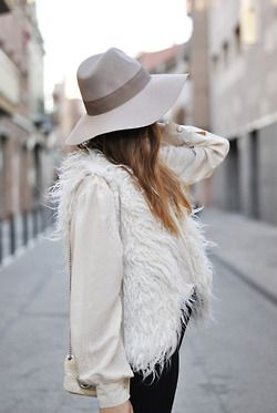 Muted tones: Real People, Inspiration, Fall Wint, White Shirts, Winter White, Faux Fur Vests, Winter Fashion, Floppy Hats, Winter Chic