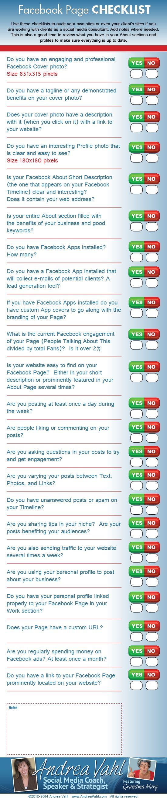http://www.incometriggerconsulting.com Facebook Page Checklist. This is a great health check for your FB presence. Any questions? Go to my website to book an obligation free call with me.