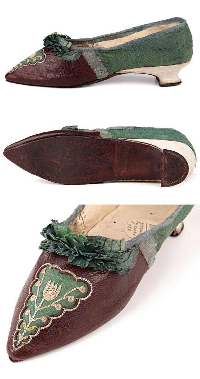 Low Italian heels pointed toe slippers, France, late 1780s-1790s (?), decorated with embroidery and a green silk plisse on the vamp. Sharp toe, italian heel, leather and flax lining. http://eng.shoe-icons.com/collection/object.htm?id=1575