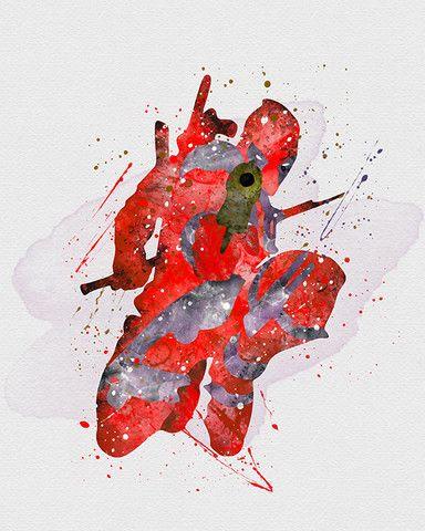 DeadPool Marvel Watercolor Art - VividEditions