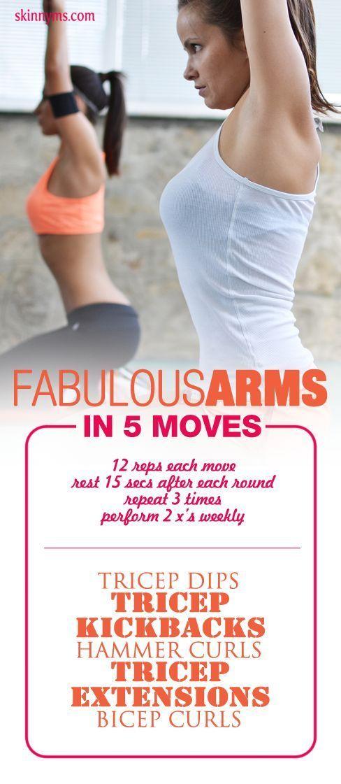 Fabulous Arms in 5 Moves. #workoutsforwomen #bicepworkout #tricepworkout #armworkout