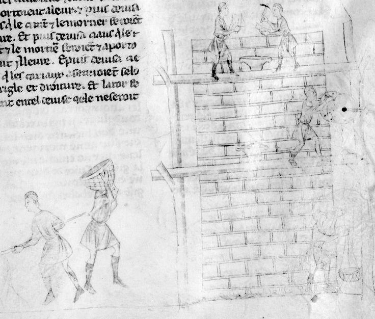 BNF, Français 9685, fol. 10, Construction de la tour de Babel